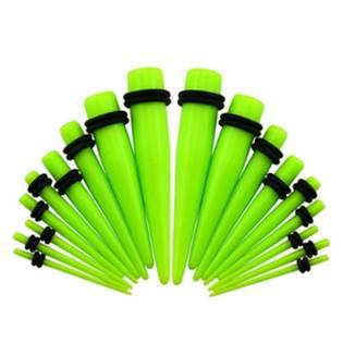 Akrylátový roztahovák do ucha světle zelený
