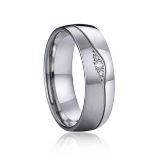 AN1035 Dámský snubní ocelový prsten  diamanty