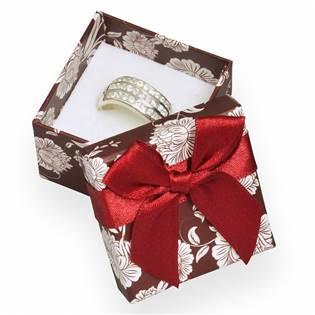 Bordó/bílá dárková krabička na prsten