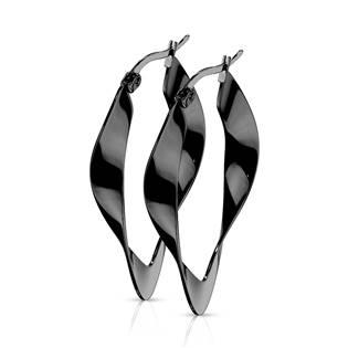 Černé ocelové náušnice kruhy zvlněné
