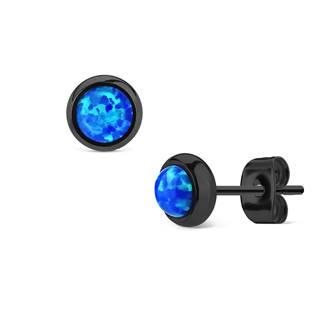 Černé ocelové náušnice s modrými opály