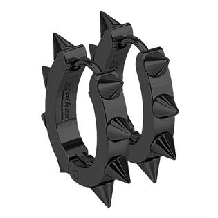 Černé ocelové náušnice s ostny
