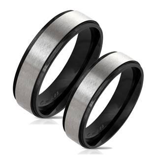 Černé ocelové prsteny - pár OPR0075