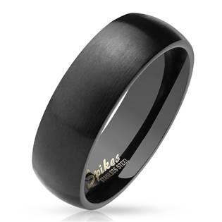 Černý matný ocelový prsten, šíře 6 mm