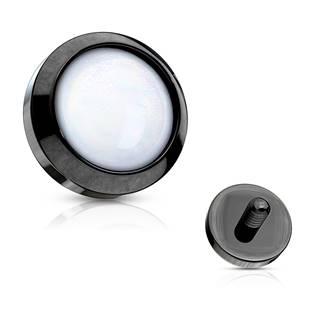 Černý microdermal - ozdobná část - průměr 4 mm, barva bílá