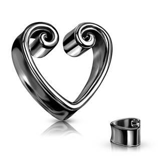 Černý ocelový tunel do ucha srdce