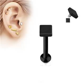 Černý piercing do brady - labreta 1,2 x 6 mm, čtverec