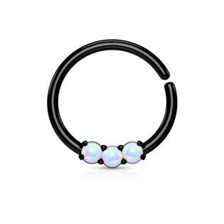 Černý piercing do nosu/ucha kruh s bílými opály