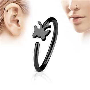Černý piercing do nosu/ucha kruh s motýlkem