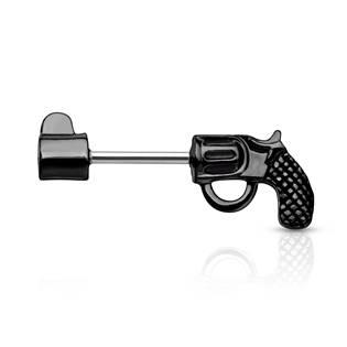 Černý piercing do ucha - náušnice revolver