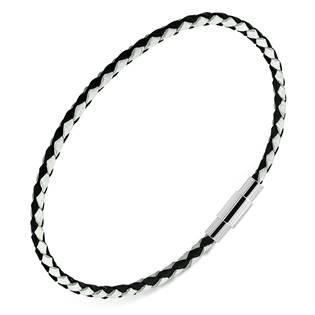 Černý/bílý kožený splétaný náramek