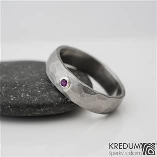 Dámský kovaný prsten Klasik Draill Rubín