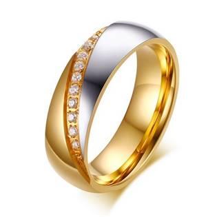 Dámský ocelový prsten se zirkony, šíře 6 mm, vel. 52