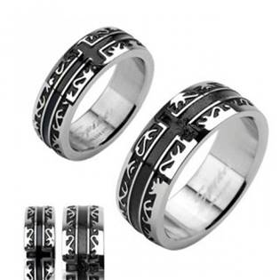 Dámský ocelový prsten šíře 6 mm, vel. 52