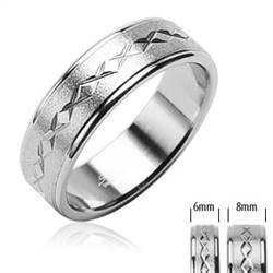 Dámský ocelový prsten šíře 6 mm, vel. 54