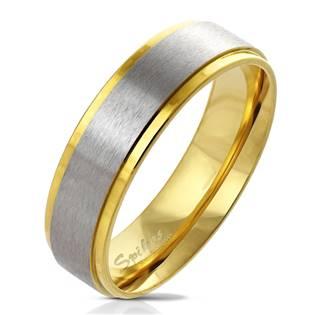 Dámský ocelový prsten zlacený, šíře 6 mm