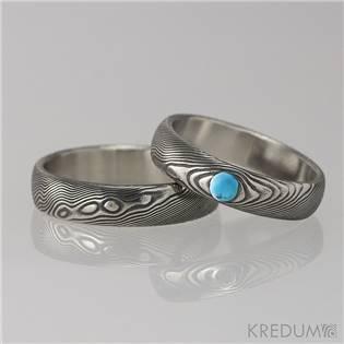 Dámský snubní prsten damasteel PRIMA s tyrkysem