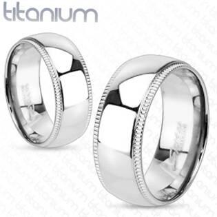 Dámský snubní prsten titan, šíře 6 mm, vel. 49