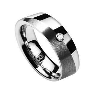 Dámský snubní prsten wolfram - zirkon, šíře 6 mm, vel. 49