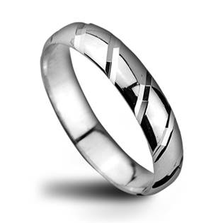 Dámský stříbrný snubní prsten, šíře 4 mm