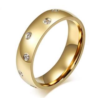 Dámský zlacený ocelový prsten se zirkony