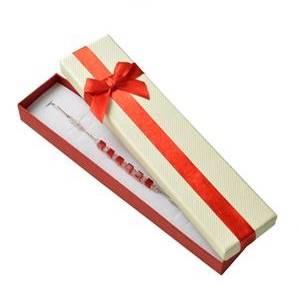 Dárková krabička na náramek, červená mašle
