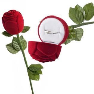 Dárková krabička na prsten - růže na stonku, barva červená