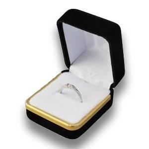 Dárková krabička na prsten - semiš černý