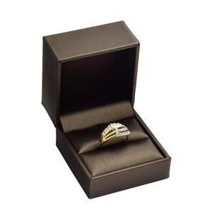 Dárková krabička na prsten, kovově hnědá