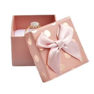 Dárková krabička na prsten, růžová se zlatými puntíky