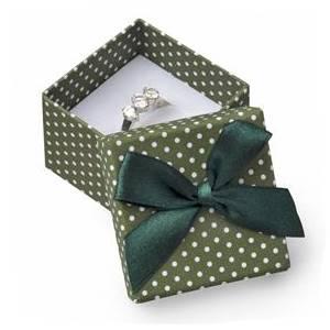 Dárková krabička na prsten zelená - bílé puntíky