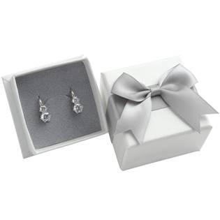 Dárková krabička na prsten/náušnice, bílá se šedou mašlí