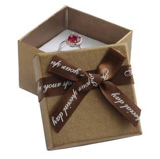 Dárková krabička na prsten/náušnice, hnědá s hnědou mašlí