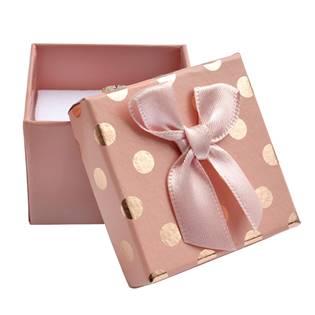 Dárková krabička na prsten/náušnice, růžová se zlatými puntíky