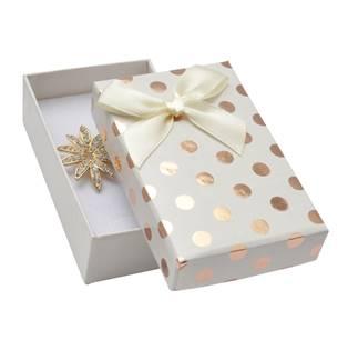 Dárková krabička na soupravu, bílá se zlatými puntíky