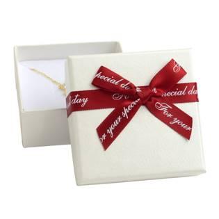 Dárková krabička na soupravu šperků, bílá s červenou mašlí