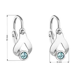 Dětské náušnice stříbrné náušnice - slzičky, Crystals from SWAROVSKI®, Aqua