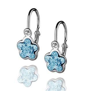 Dětské stříbrné náušnice - kytička, Crystals from SWAROVSKI®, barva: Aquamarine