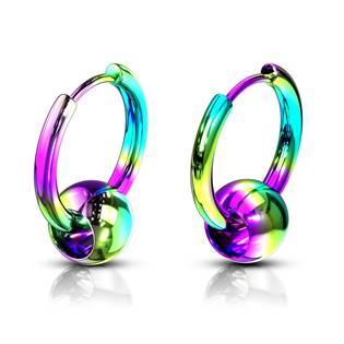 Duhové ocelové náušnice - kroužky s kuličkou