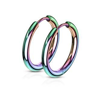 Duhové ocelové náušnice - kruhy 17 mm