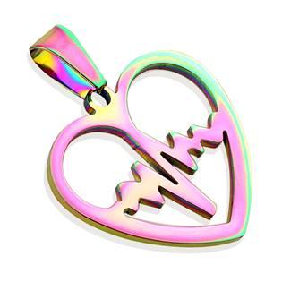Duhový ocelový přívěšek - srdce heart beat