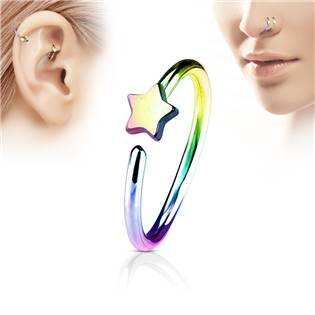 Duhový piercing do nosu/ucha kruh s hvězdou