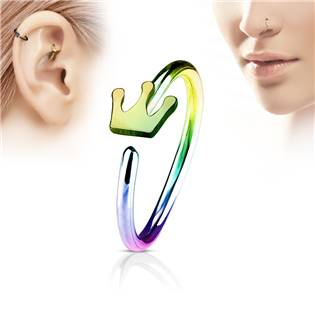 Duhový piercing do nosu/ucha kruh s korunkou