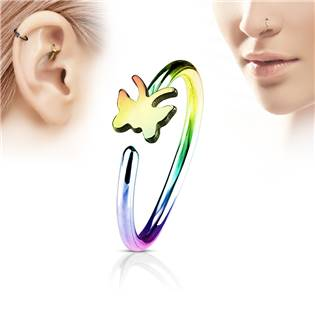 Duhový piercing do nosu/ucha kruh s motýlkem