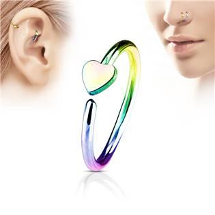 Duhový piercing do nosu/ucha kruh se srdíčkem