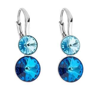 Dvojité stříbrné náušnice s kameny Crystals from Swarovski® Bermuda Blue