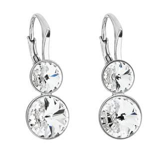 Dvojité stříbrné náušnice s kameny Crystals from Swarovski® Crystal