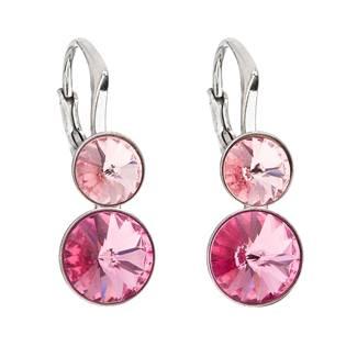 Dvojité stříbrné náušnice s kameny Crystals from Swarovski® Rose