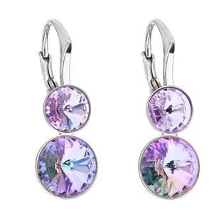 Dvojité stříbrné náušnice s kameny Crystals from Swarovski® Vitrail Light