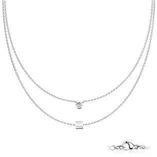 Dvojitý ocelový náhrdelník